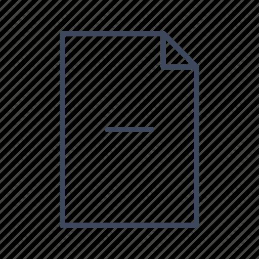 document, file, minus icon