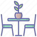 garden furniture, lawn furniture, lawn patio, table chairs, table furniture icon
