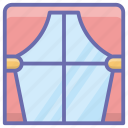 closed curtains, decorative curtain, room accessory, room curtain, window curtains icon