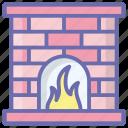 chimney, fire blaze, fire flame, fireplace, fireside, household fireplace icon