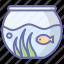 aquatic fish, fish bowl, fish jar, fish tank, freshwater fish, tropical fish icon