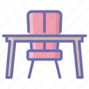 chair, classroom desk, office furniture, study table, work desk, workplace icon