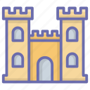 castle, castle building, castle tower, fortification, fortress, medieval, palace icon