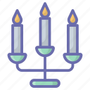 candle stand, candlelight, glim, illumination, light icon