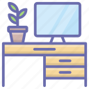 computer console, computer table, desktop table, office desk, workplace icon