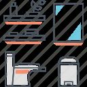 bathroom, bin, flush, loo, mirror, restroom, toilet icon