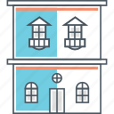 apartment, building, double, home, house, mansion, storey icon