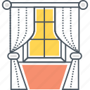 blinds, curtain, curtains, window icon