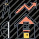 design, house, housing, interior, market, price, trend icon