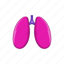 anatomy, cartoon, human, lungs, medical, organ, sign icon