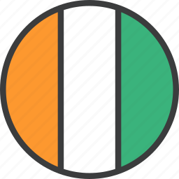 african, coast, cote, country, divoire, flag, ivory icon