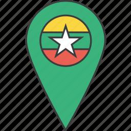 asian, burma, burmese, country, flag, myanmar icon