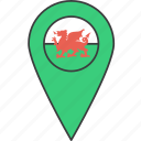 welsh, country, flag, european, wales icon