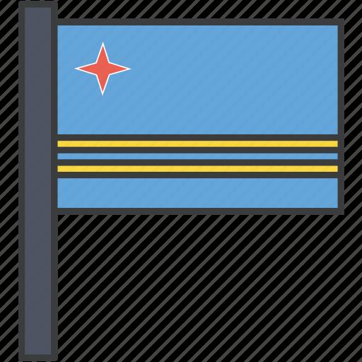 aruba, aruban, country, flag, national icon