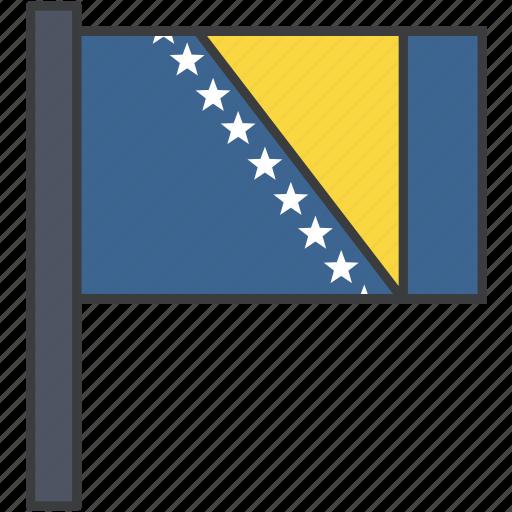 bosnia, country, european, flag, herzegovina, national icon