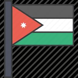 asian, country, flag, jordan, jordanian, national icon