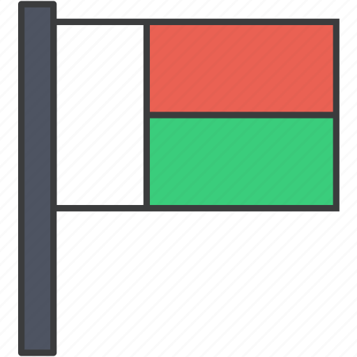african, country, flag, madagascar, national icon