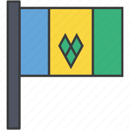 country, flag, grenadines, national, saint, vincent icon