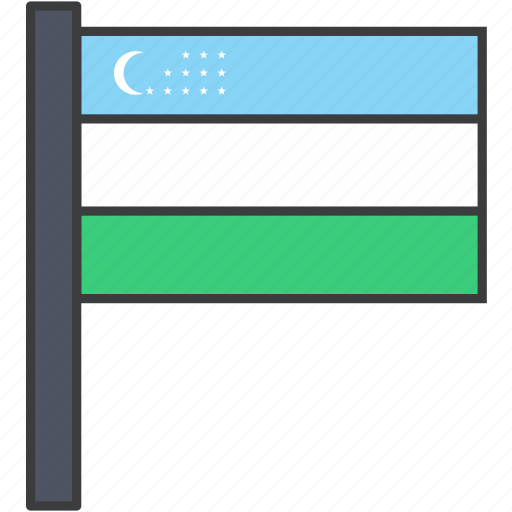 asian, country, flag, national, uzbekistan, uzbekistani icon
