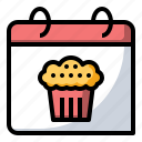 bakery, cake, calendar, food icon