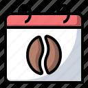 caffeine, calendar, coffee, food icon