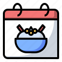 calendar, food, hummus, pure icon