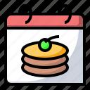 cake, calendar, food, pancake, pastry icon
