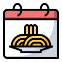 calendar, food, noodles, pasta, spaghetti icon