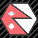 asian, country, flag, nepal, nepali icon