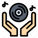 club, dj, hand, music, party icon