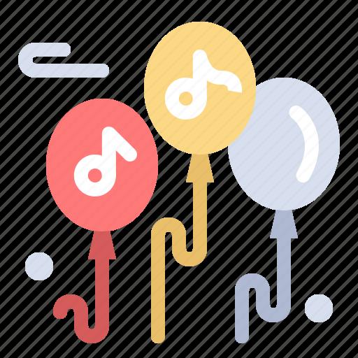balloon, multimedia, music icon