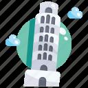 building, landmark, leaning, of, pisa, tower icon