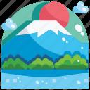 building, fuji, landmark, mountain