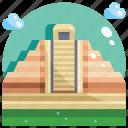building, landmark, mayan, pyramids icon