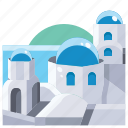 blue, building, church, domed, in, landmark, santorini icon