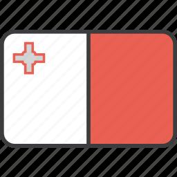 country, european, flag, malta, national icon