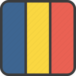african, chad, country, flag icon