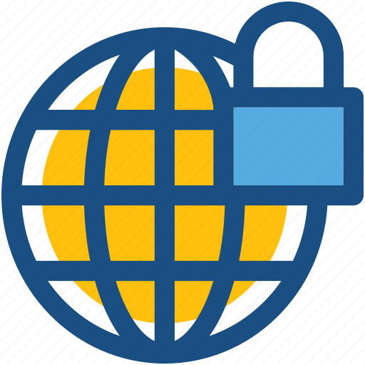 digital security, globe, internet security, lock, network protection icon