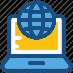 cyberspace, globe, internet, laptop, www icon