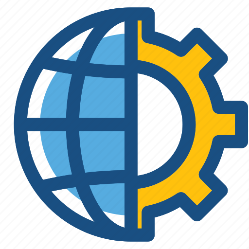 cog, cogwheel, global setting, globe, internet setting icon