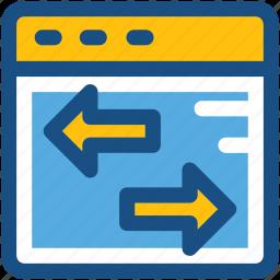 arrows, data transfer, direction arrows, left arrow, pointing arrows icon