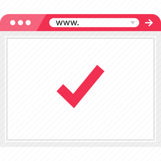 browser, check, mark, ok, online icon
