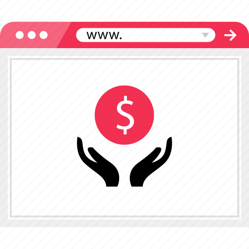 browser, dollar, hands, money, online, sign icon