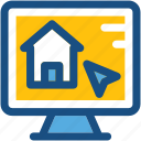 lcd, monitor, online property, online real estate, property web icon