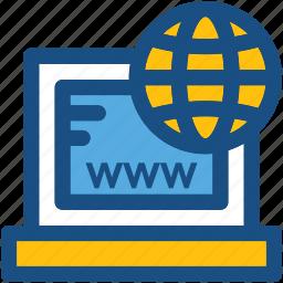 globe, globe grid, internet, internet connection, laptop icon