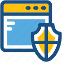 protection shield, web protection, web screen, web shield icon