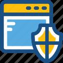 protection shield, web protection, web screen, web shield icon
