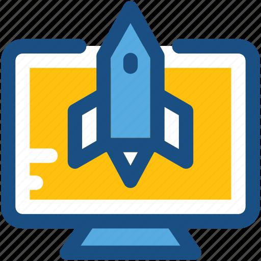 missile, online startup, rocket, spaceship, startup launch icon