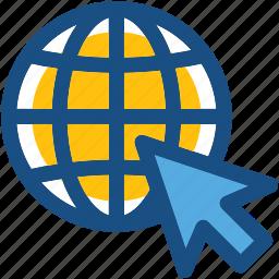 cost per click, globe, internet grid, mouse, pay per click, ppc icon