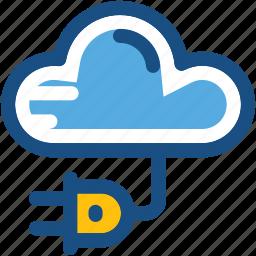 cloud, cloud plug, plug connector, plug in, power plug icon